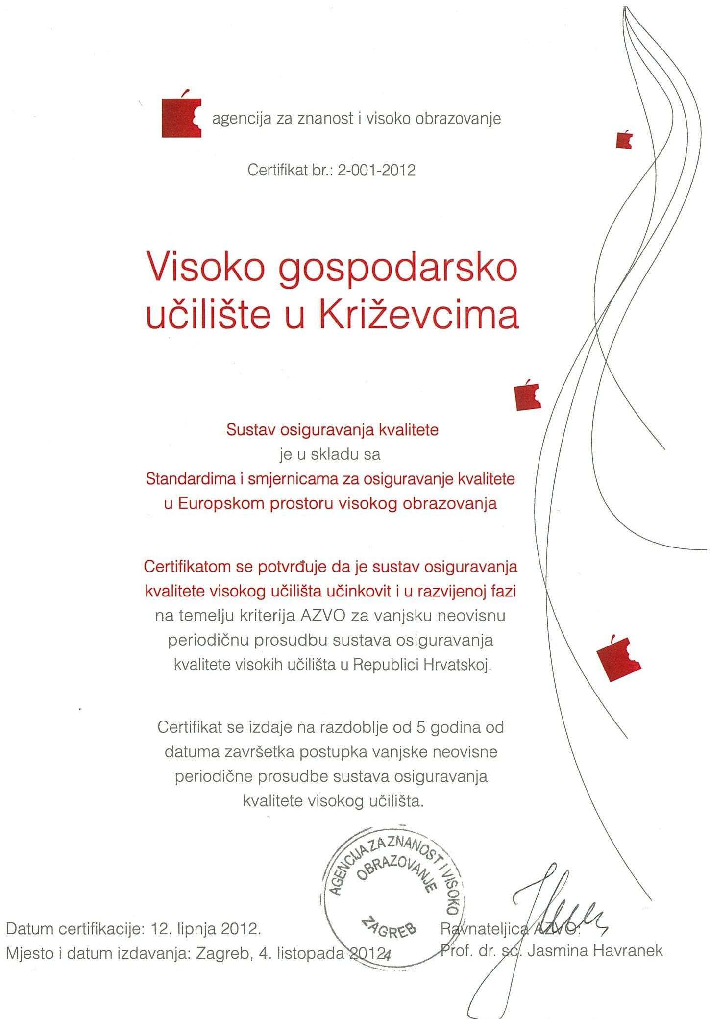 certifikat_AZVO_kvaliteta_visoko_obrazovanje_VGUK_ESG