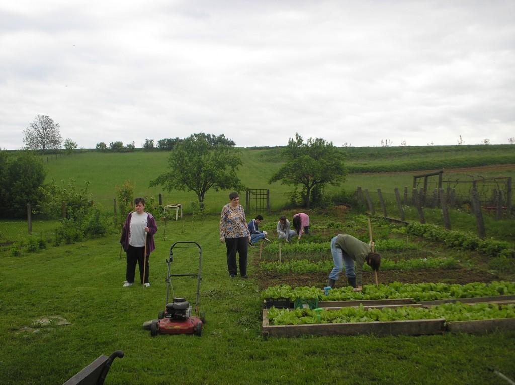 Članovi Udruge Maslačak u vrtu