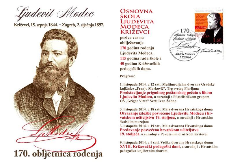 Plakat programa posvećenih Lj. Modecu i školstvu (izvor: http://www.os-ljmodeca-kc.skole.hr/)