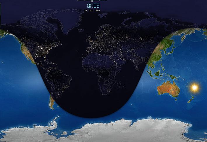 Zimski solsticij - najjužnija točka na Zemlji iznad koje je Sunce bilo u zenitu, 22. prosinca 2014. (ilustracija iz programa Solar System Scope)