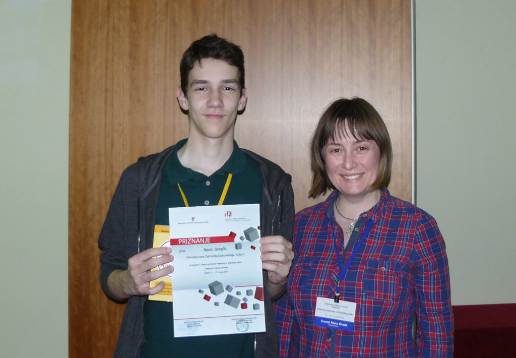 Neven Jakopčić osvojio treće mjesto na državnom Natjecanju iz engleskog jezika