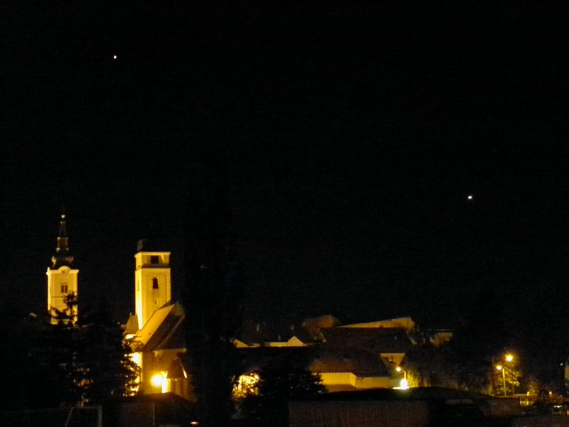 Jupiter i Venera svake večeri nad Križevcima na zapadnom nebu. Za vrijeme Spravišča moći ćemo ih promatrati i teleskopom (foto: R.Matić)