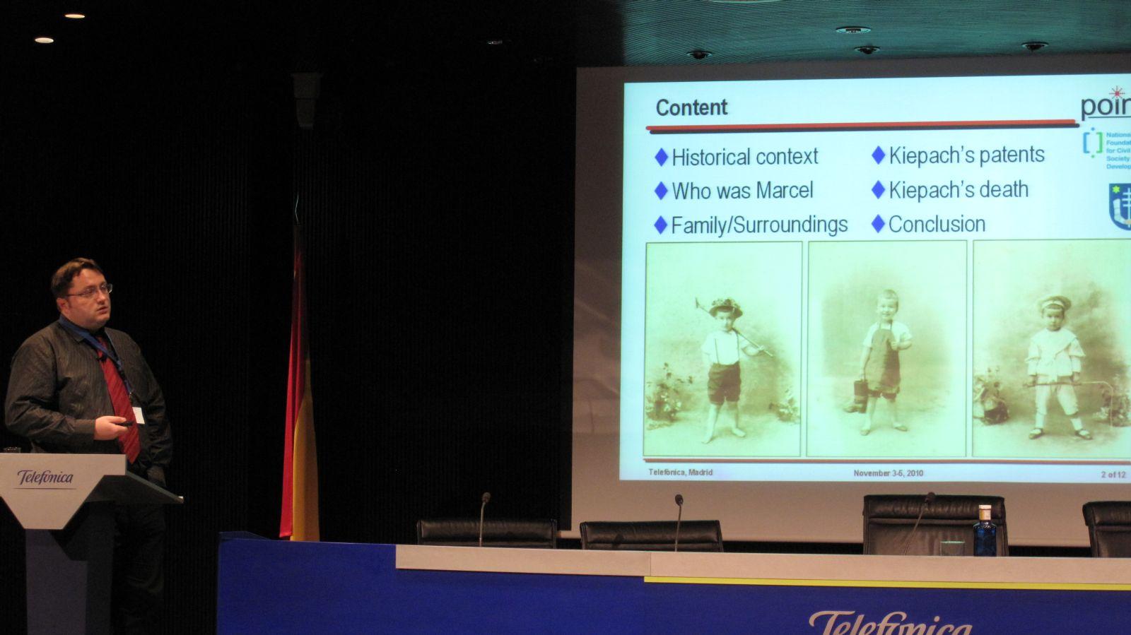 Predavanje o Kiepachu na 2. međunarodnoj konferenciji HISTELCON u Madridu, studeni 2010.