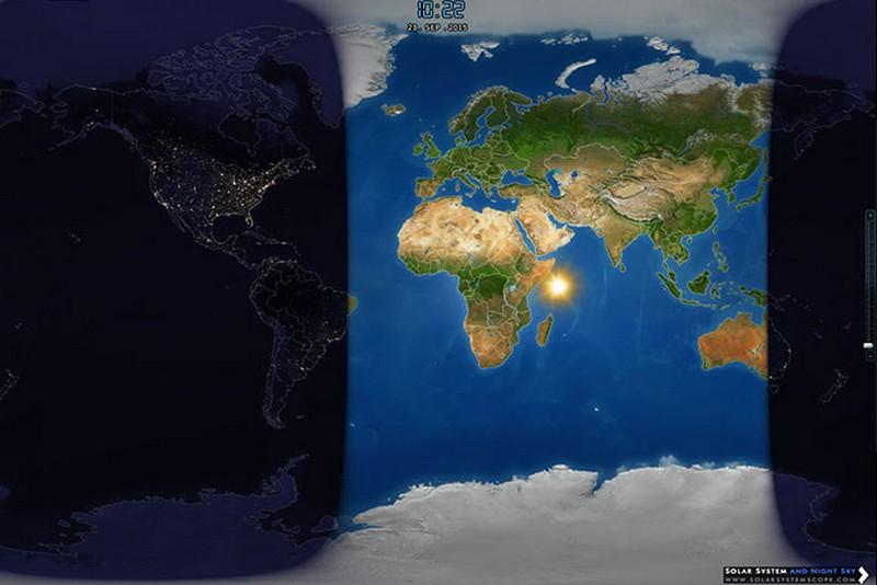 Položaj Sunca u trenutku kad počinje jesen 23. rujna 2015. (iz programa Solar System Scope)