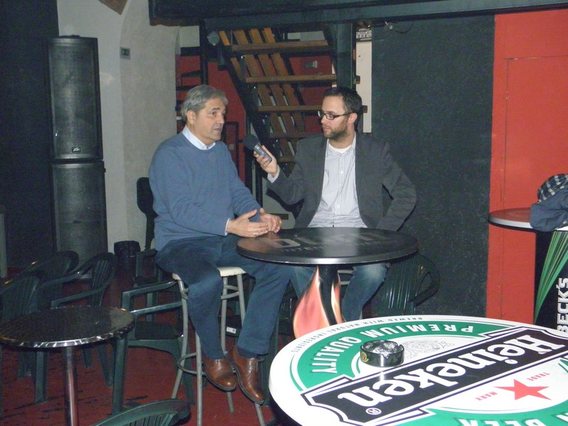 Tribina o televiziji na Culture Shock Festivalu 28. ožujka 2013. - gost Damir Matković, moderator Sandro Novosel (foto: R.Matić)