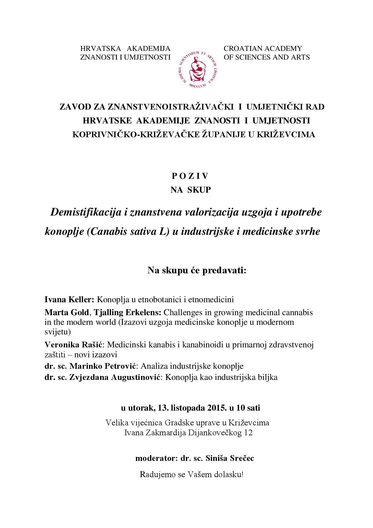 HAZU_POZIV-Znanstveni skup o medicinskoj konoplji