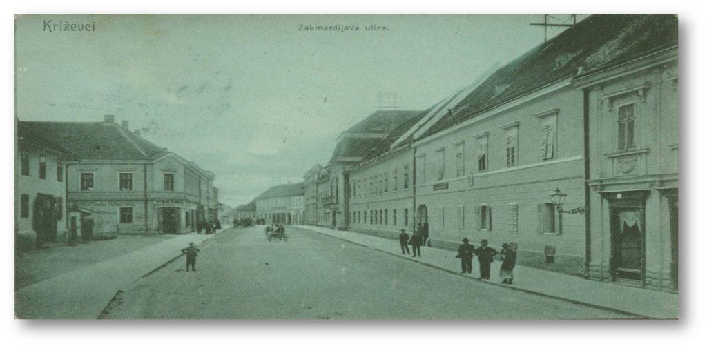 Križevci na kraju 19. st. - županijska palača, u čijem je južnom krilu  djelovalo Kr. više gospodarsko i šumarsko učilište