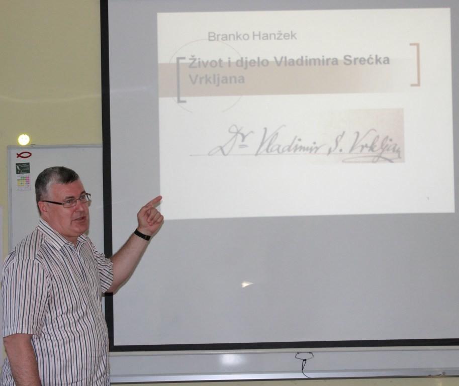 Dr. sc. Branko Hanžek govori o dr. Vladimiru Srećku Vrkljanu 30. lipnja 2016. u Sv. Petru Orehovcu (foto: Martin Vujić)