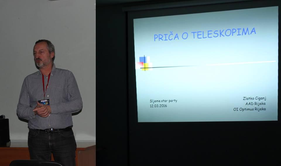 Zlatko Ciganj predaje o teleskopima 12. ožujka ove godine na Sljeme Star Partyju (foto: Martin Vujić)