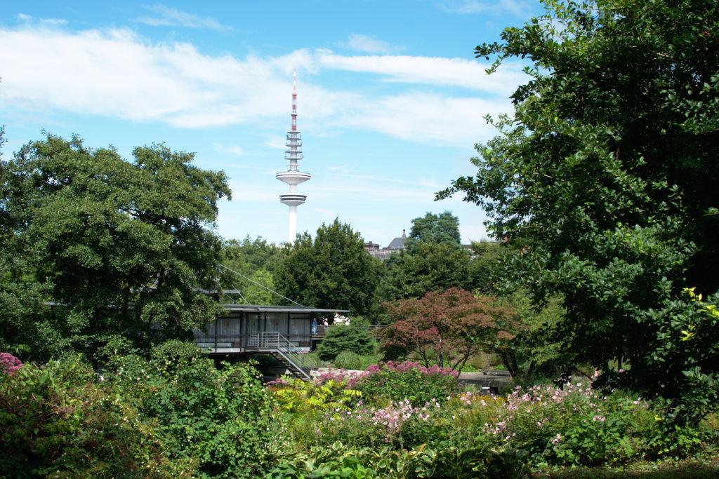 Planten un Blomen - park koji se proteže uz centar grada, u pozadini je Heinrich-Hertzov TV toranj.