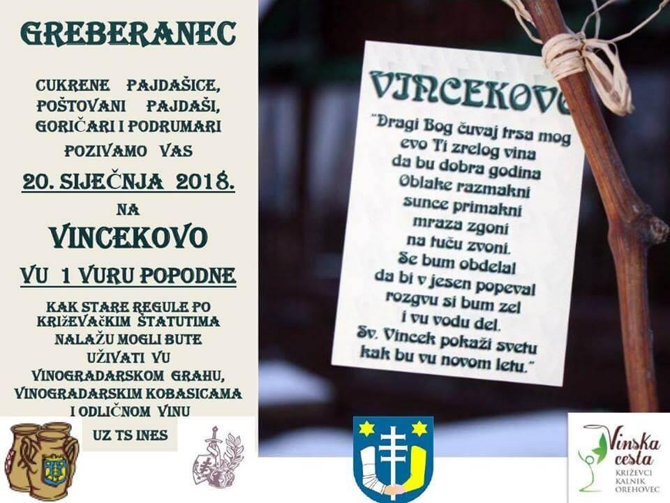 Vincekovo po Križevačkim štatutima, subota 20.1.2018 u 13 sati