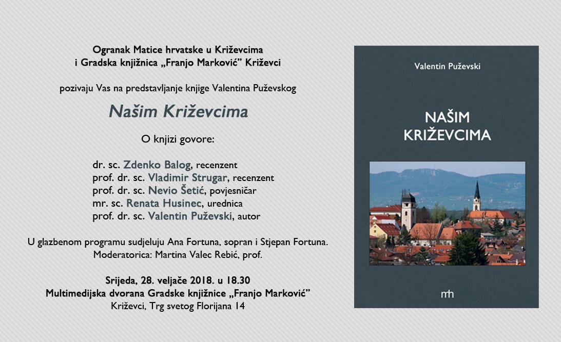 """U srijedu predstavljanje knjige Valentina Puževskog - """"Našim Križevcima"""""""