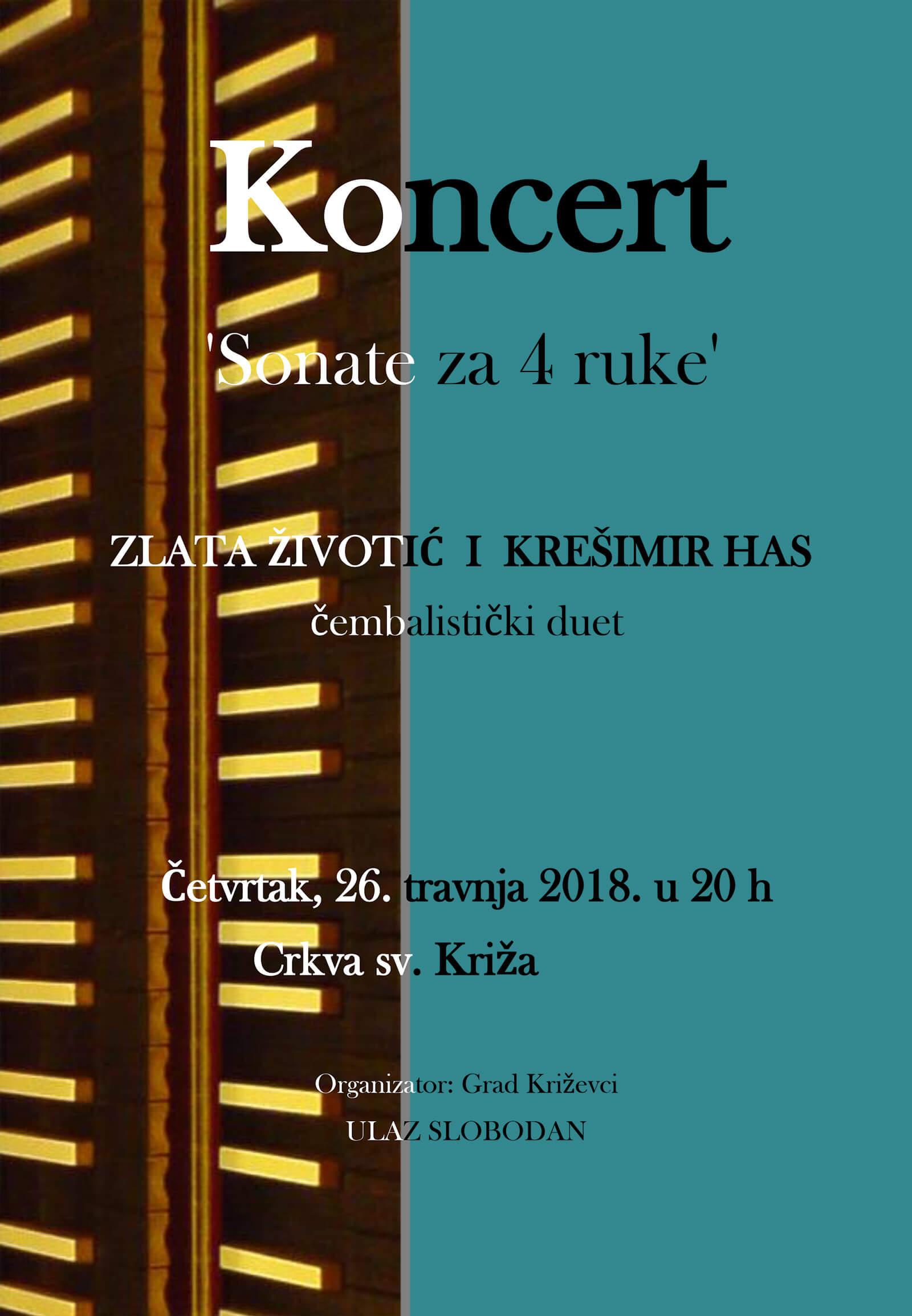 Koncert 'Sonate za 4 ruke' u četvrtak u crkvi sv. Križa