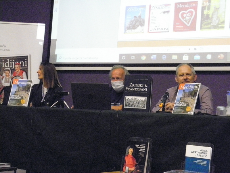 Prof. Tihomir Marjanac (u sredini) na predstavljanju časopisa Meridijani u križevačkoj knjižnici 8. listopada 2020. (foto R. Matić)